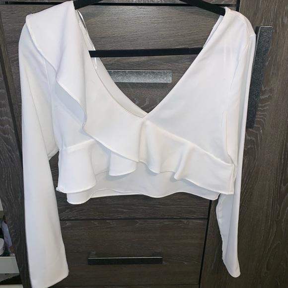 Zara cropped ruffle blouse